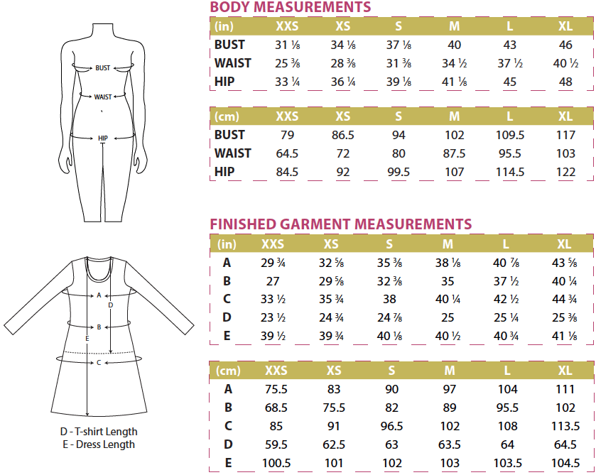 Idyllwild Body and Finished Garment Measurements