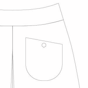 Emily Culottes PDF Pattern Slanted Patch Pocket with button closure