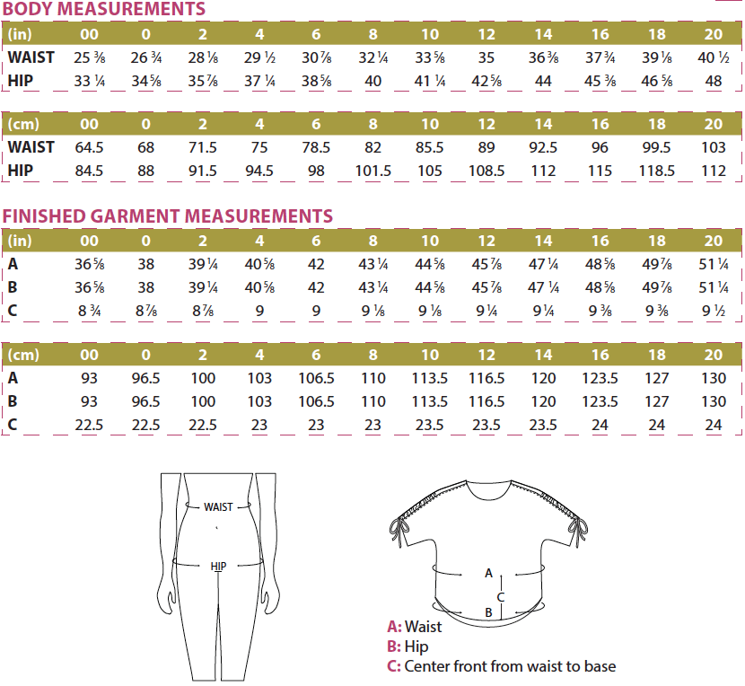 Itch to Stitch Carey Top Body & Finished Garment Measurements