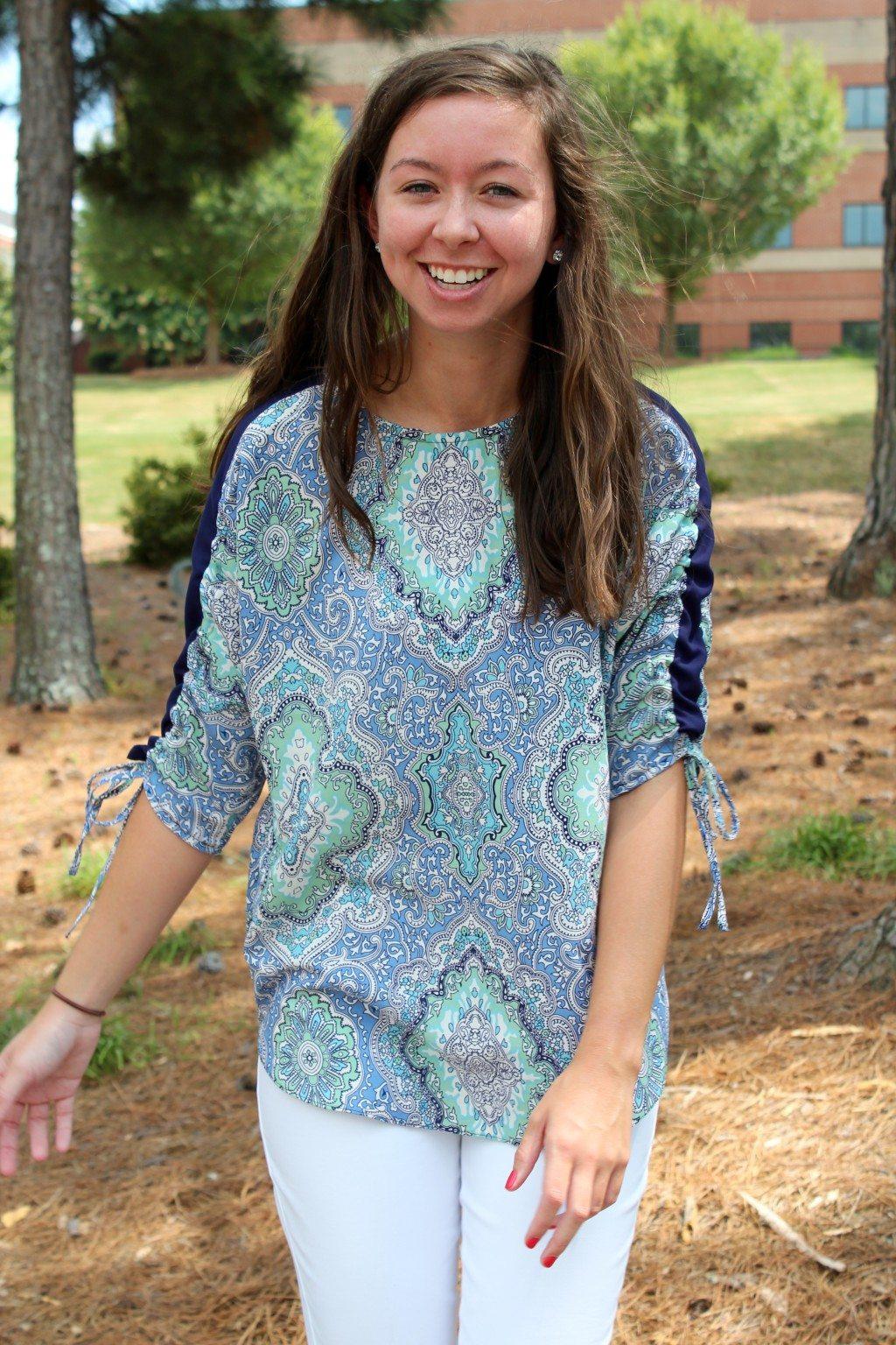 Adrienne's Model in Carey Top - PDF Sewing Pattern