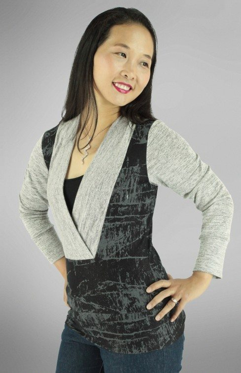 Irena Knit Top PDF Sewing Pattern Side Front