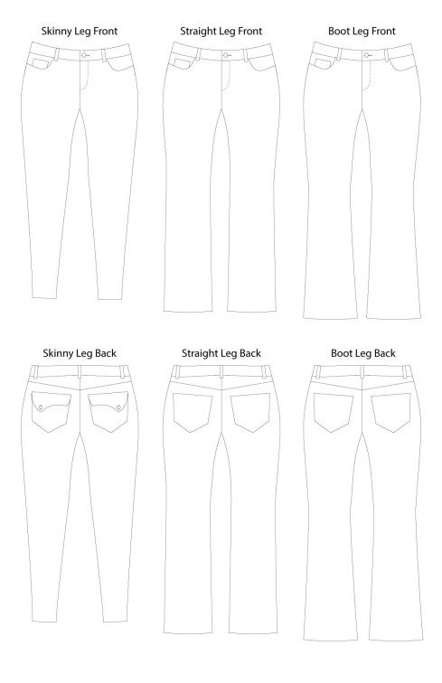 Liana Stretch Jeans PDF Sewing Pattern Line Drawings