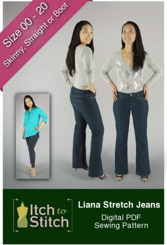 Liana Stretch Jeans PDF Sewing Pattern Product Hero