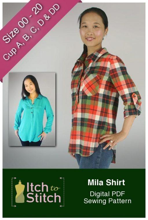 Mila Shirt PDF Sewing Pattern A, B, C, D & DD Cup Options