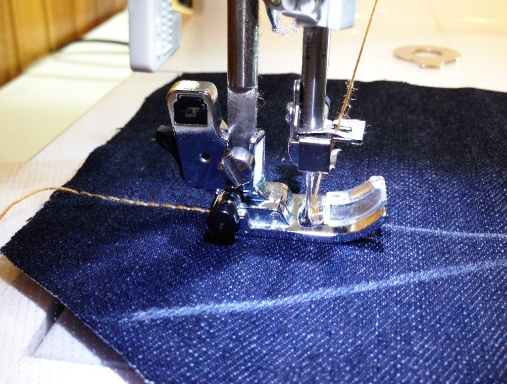 Liana Stretch Jeans Sewalong Day 6 Topstitch Back Pocket with water-soluble stabilizer