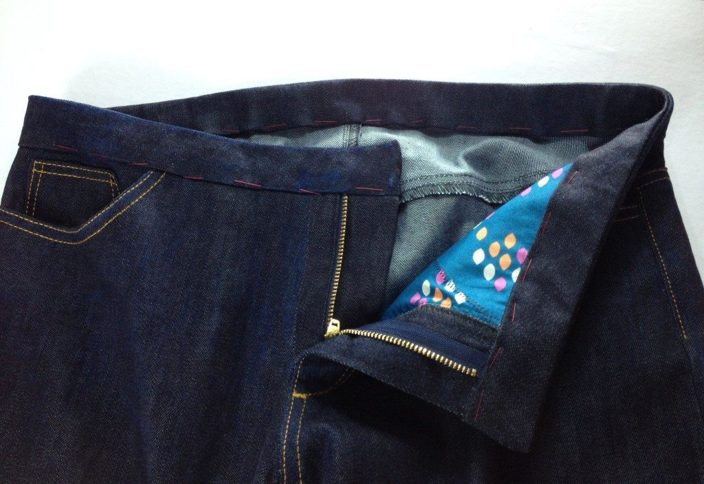Liana Stretch Jeans Sewalong Day 9 Baste waistband