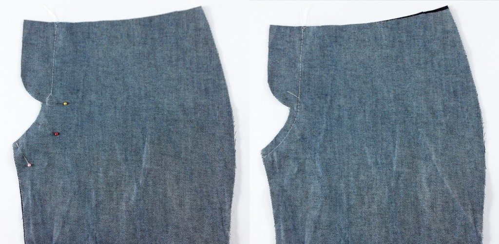 Liana Stretch Jeans Sewalong Day 4 Stitch back yoke Stitch Front Crotch