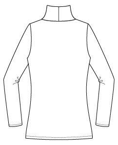 Itch to Stitch Hepburn Turtleneck Line Drawing Back