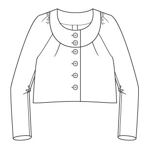 Itch to Stitch Salamanca Cropped Jacket Line Drawing Front