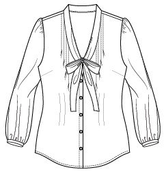 Itch to Stitch Zamora Blouse Line Drawing Front