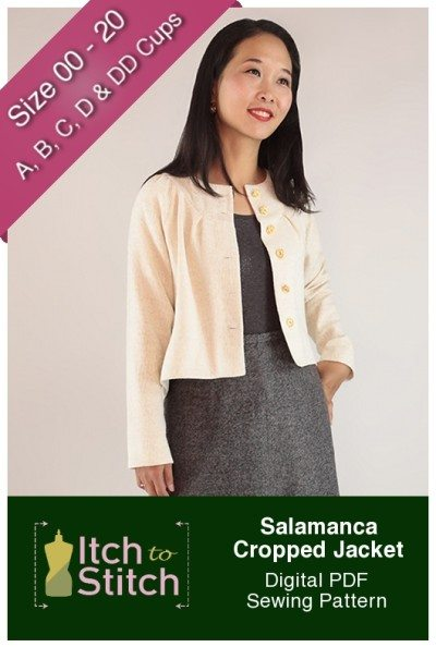 Itch to Stitch Salamanca Cropped Jacket PDF Sewing Pattern Product Hero