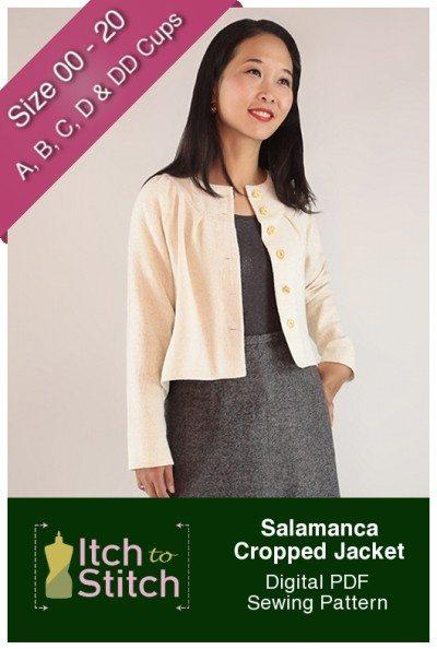 Itch to Stitch Salamanca Cropped Jacket PDF Sewing Pattern Product Hero