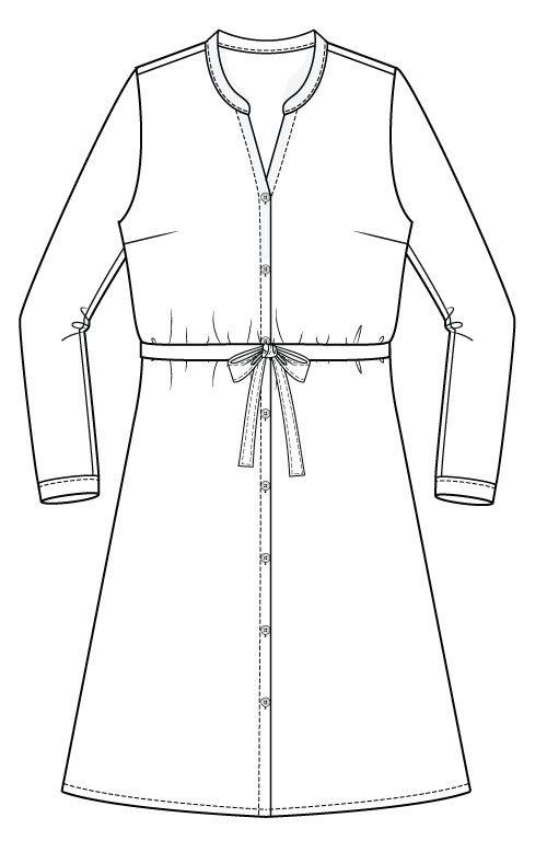 Bonn Shirt & Dress PDF Sewing Pattern - Dress Length Front