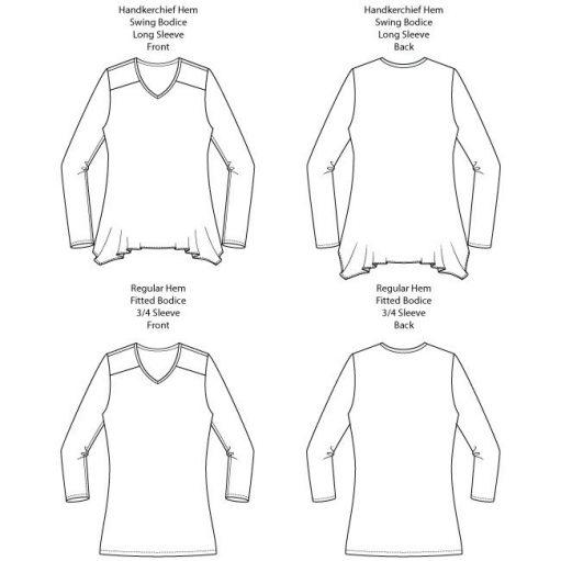Arenal Top PDF Sewing Pattern Line Drawings