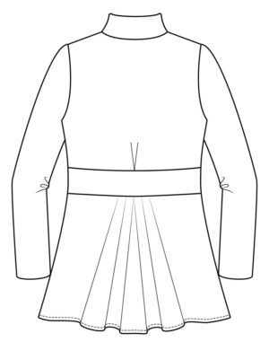 Itch to Stitch Paro Cardigan PDF Sewing Pattern Back Line Drawing