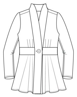 Itch to Stitch Paro Cardigan PDF Sewing Pattern Front Line Drawing