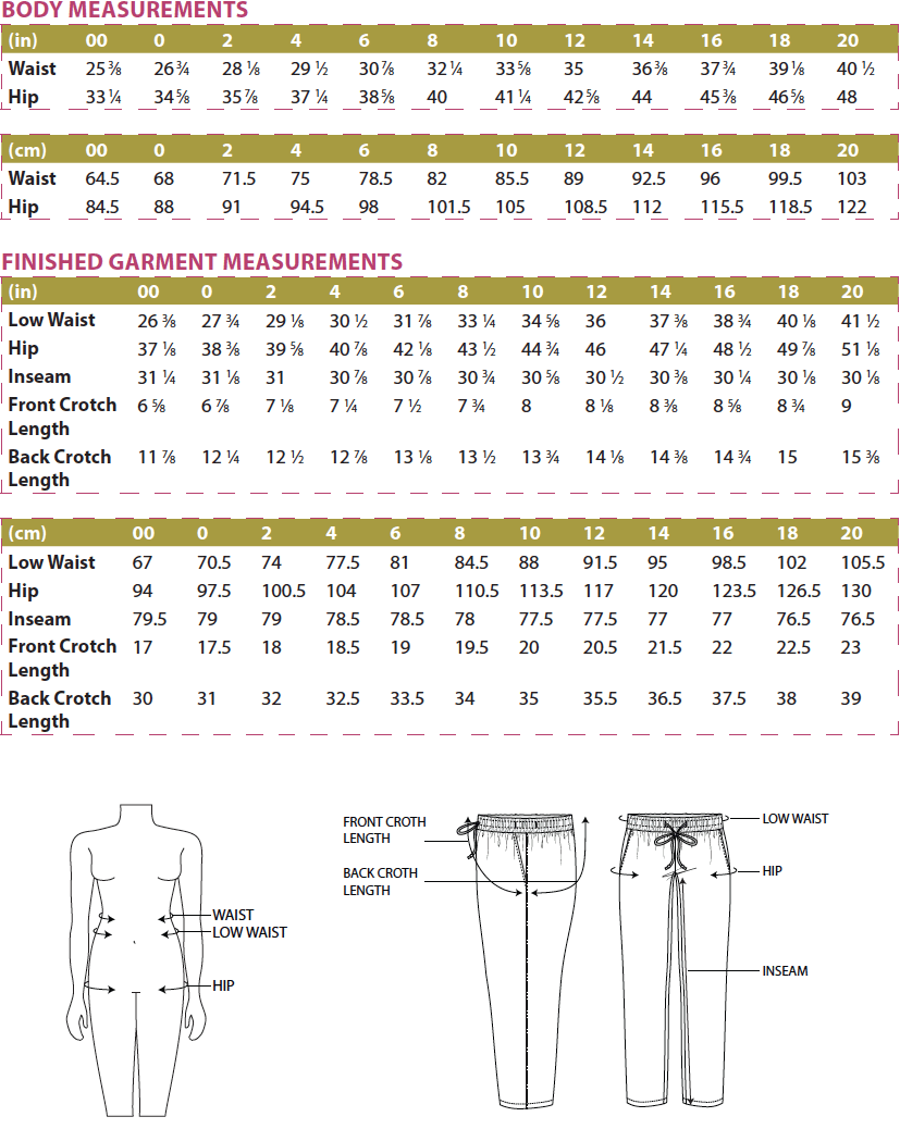 Tierras Woven Joggers PDF Sewing Pattern Body Measurements