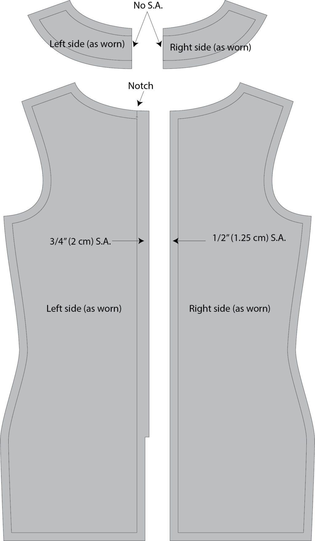 Lapped Zipper with Facing Seam Allowances