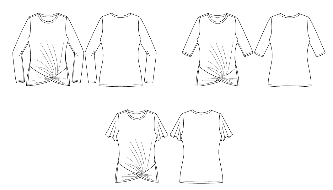 Itch to Stitch Nottingham Top PDF Sewing Pattern Line Drawings