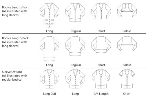 Itch to Stitch Aveiro Cardigan PDF Sewing Pattern Line Drawings