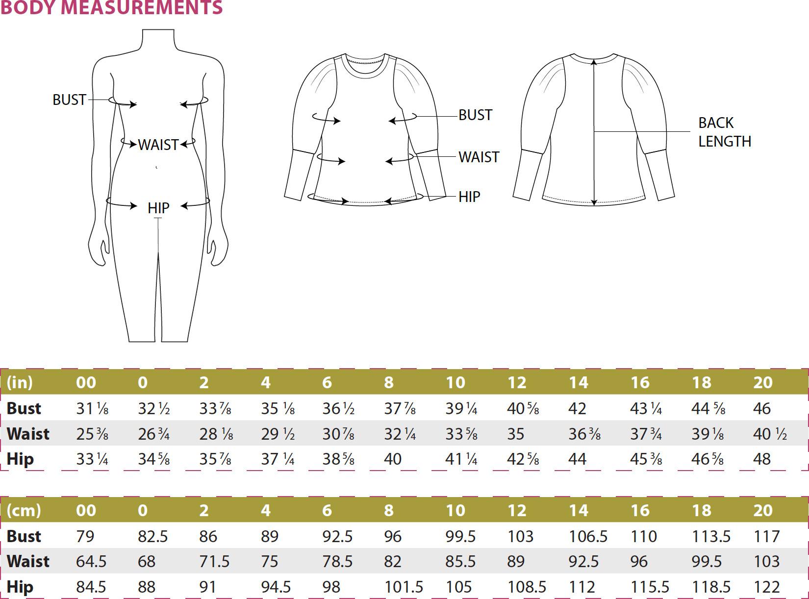 Busan Top PDF Sewing Pattern Body Measurements