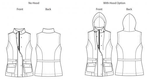 Itch to Stitch Envigado Vest PDF Sewing Pattern Line Drawing