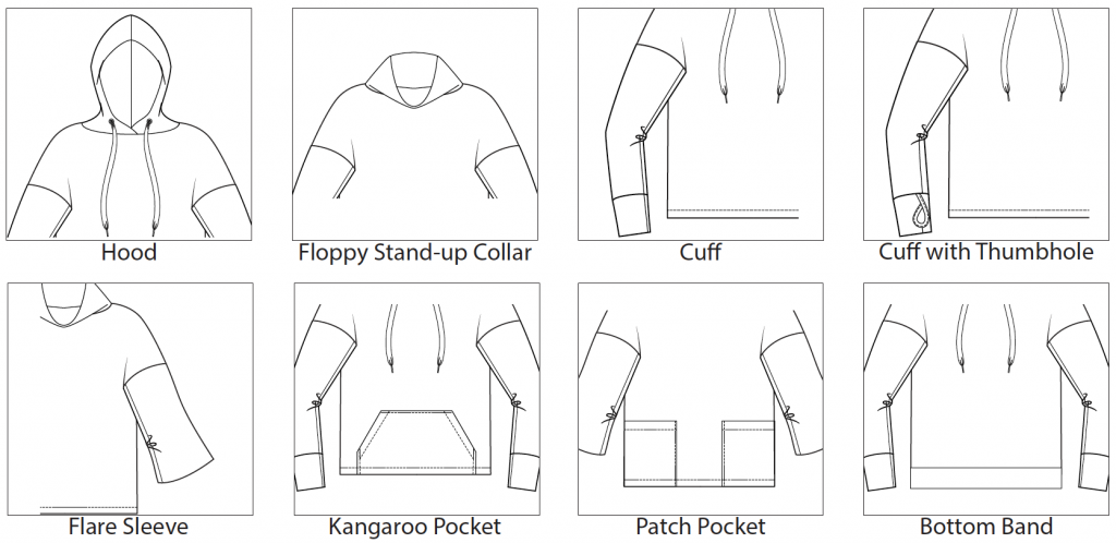 Itch to Stitch Uvita Top Add-on PDF Sewing Pattern Line Drawings
