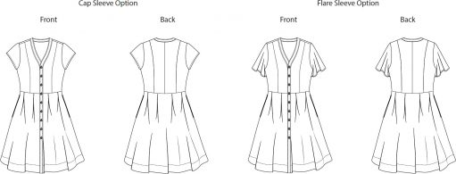 Itch to Stitch Kalispell Dress PDF Sewing Pattern Line Drawing