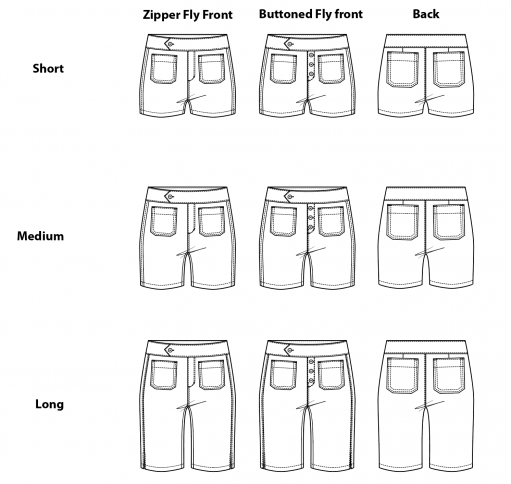 Itch to Stitch Hermosa Shorts PDF Sewing Pattern Line Drawings