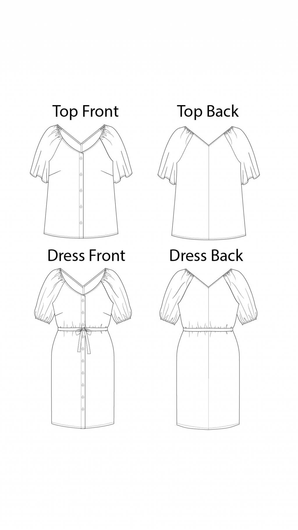 Itch to Stitch Kosice Top & Dress PDF Sewing Pattern Line Drawings