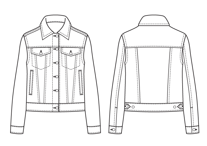 Itch to Stitch Atenas Jacket PDF Sewing Pattern Line Drawings