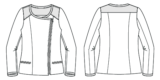 Itch to Stitch Cerro Alto Jacket Sewing Pattern Line Drawings
