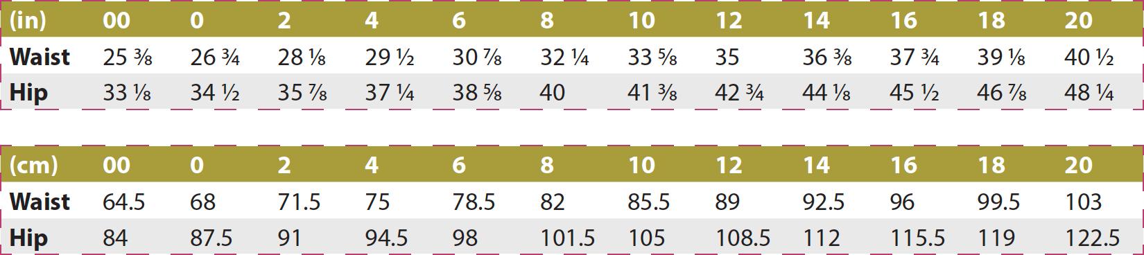 Balboa Skirt PDF Sewing Pattern Body Measurements