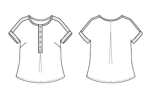 Itch to Stitch Chemainus Top PDF Sewing Pattern Line Drawing
