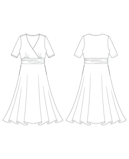 Itch to Stitch Antrim Dress PDF Sewing Pattern Line Drawing
