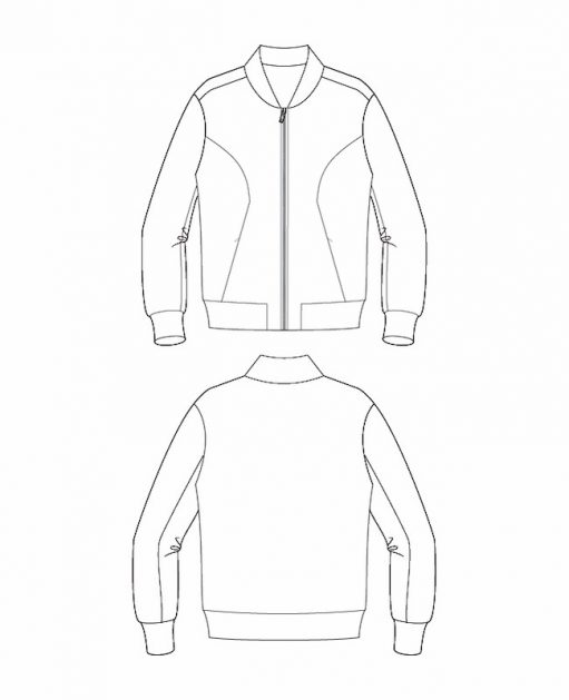 Itch to Stitch Causeway Bomber PDF Sewing Pattern Line Drawings