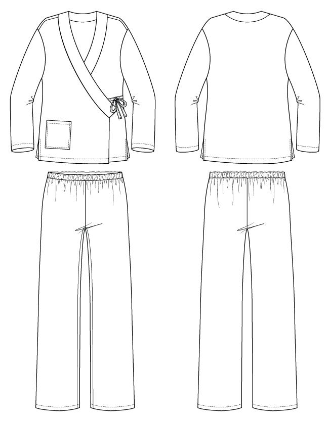 Itch to Stitch Pine Cove Pajamas PDF Sewing Pattern Line Drawings