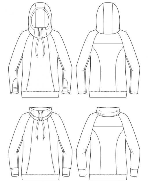 Itch to Stitch Lamma Hoodie & Sweatshirt PDF Sewing Pattern Line Drawings