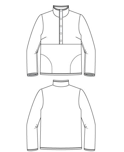 Itch to Stitch Bainbridge Pullover PDF Sewing Pattern Line Drawings