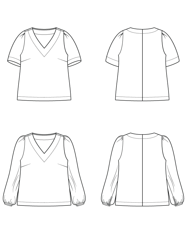 Itch to Stitch Seychelles Top PDF Sewing Pattern Line Drawings