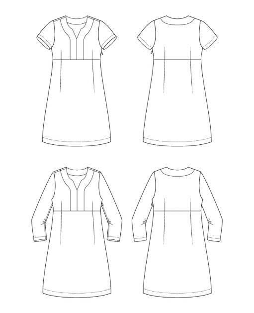 Itch to Stitch Recoleta Dress PDF Sewing Pattern Line Drawings