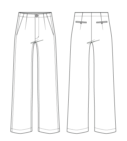 Itch to Stitch Upland Trousers PDF Sewing Pattern Line Drawings