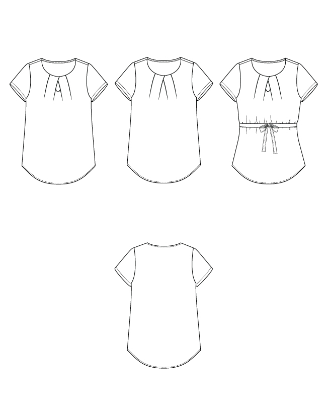 Itch to Stitch Nittany Top PDF Sewing Pattern Line Drawings