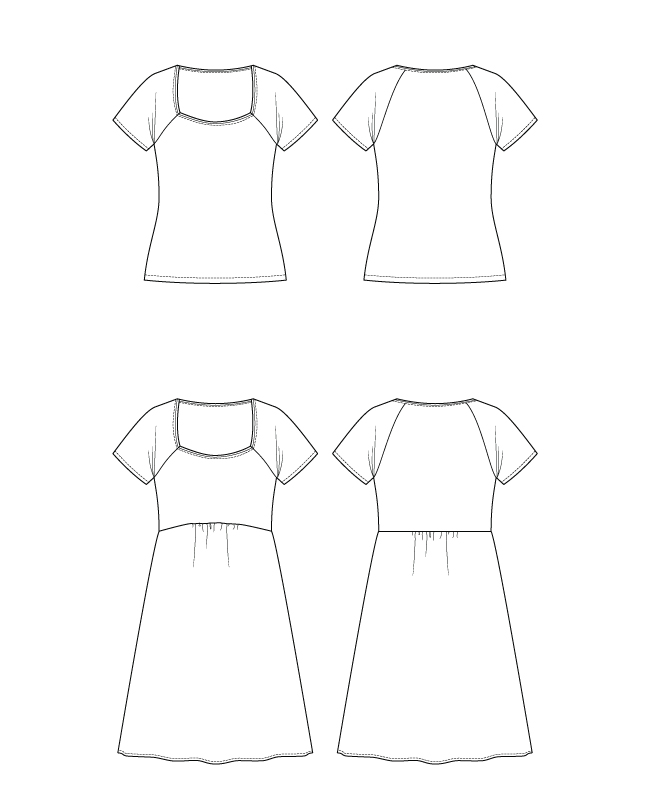 Itch to Stitch Glenelly Top & Dress PDF Sewing Pattern Line Drawings