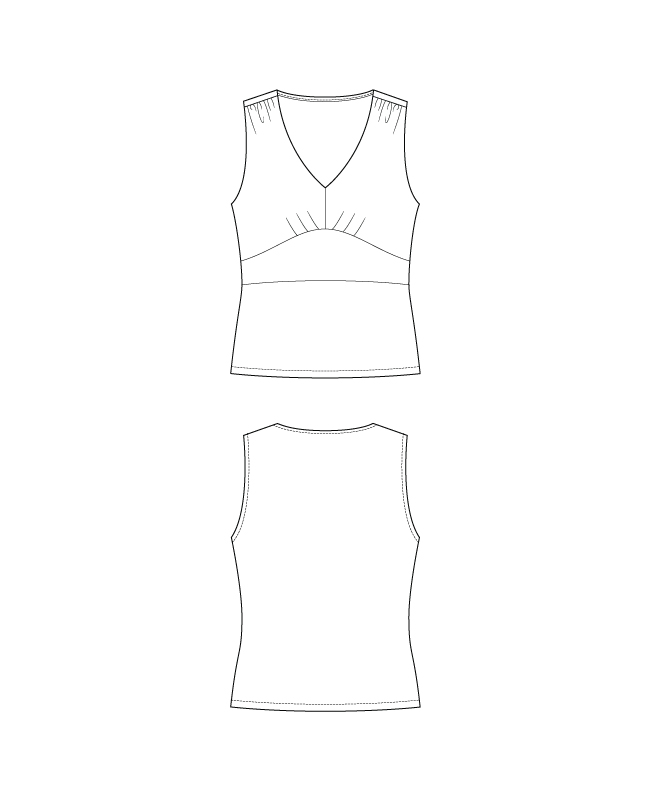 Itch to Stitch Spirren Tank PDF Sewing Pattern Line Drawings