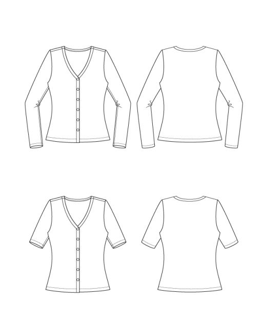 Itch to Stitch Foz Top PDF Sewing Pattern Line Drawings