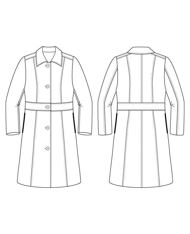 Itch to Stitch Lagan Coat PDF Sewing Pattern Line Drawings